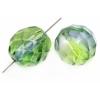 Fire polished 10mm Crystal/montana/green Two-tone